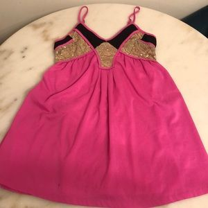 Tea & Cup Hot Pink Babydoll Dress with Sequin